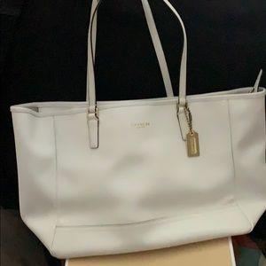 Coach white leather handbag